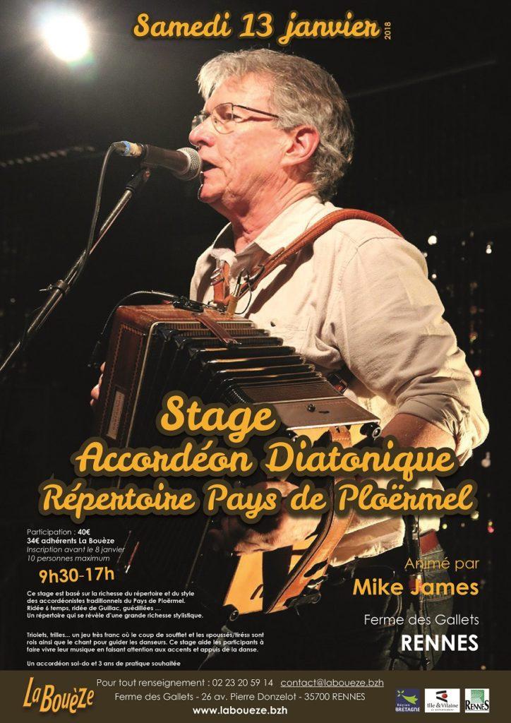 Stage Accordéon avec Mike James - Sam 13 Janvier 2018