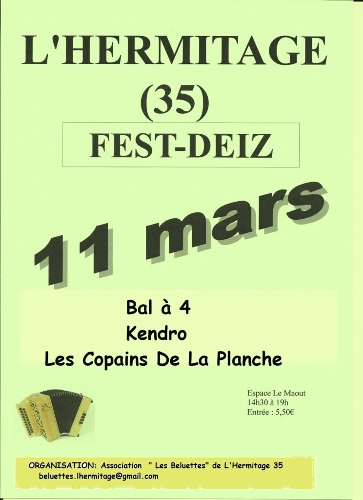 Dim 11 Mars :  FEST-DEIZ - L'HERMITAGE
