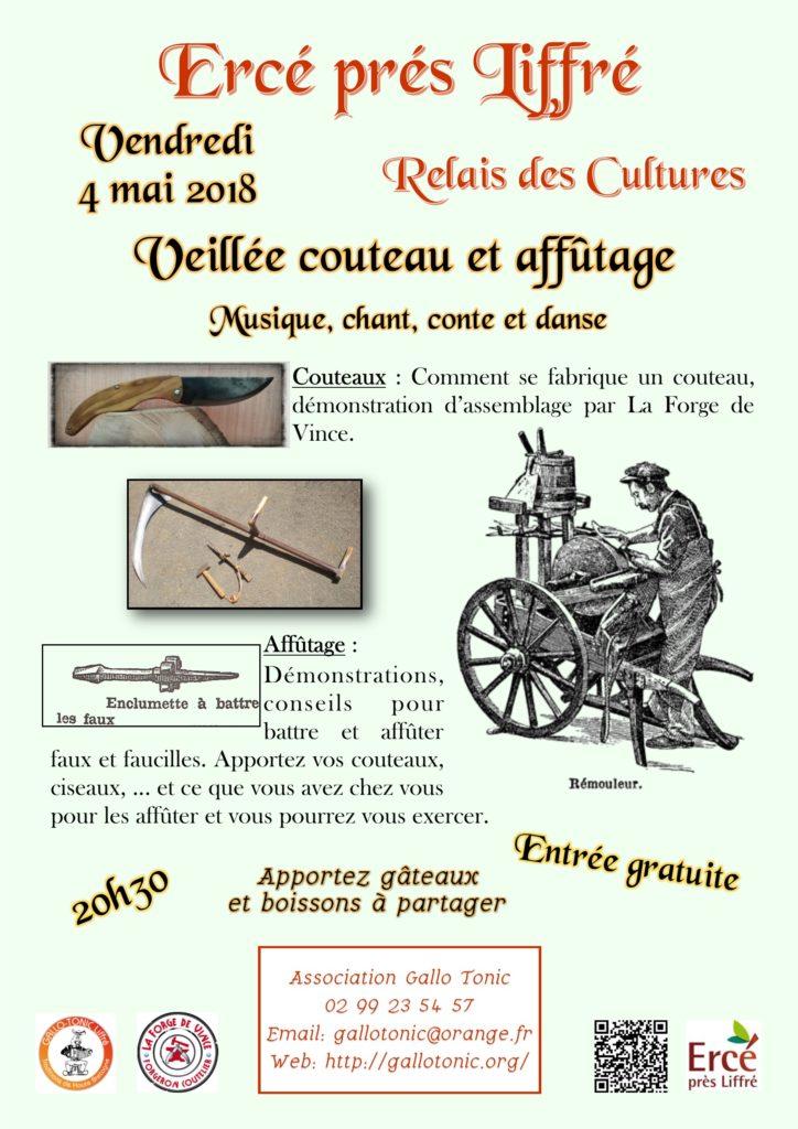Vendredi 4 Mai - VEILLÉE COUTEAUX ET AFFÛTAGE - ERCÉ-PÈS LIFFRÉ
