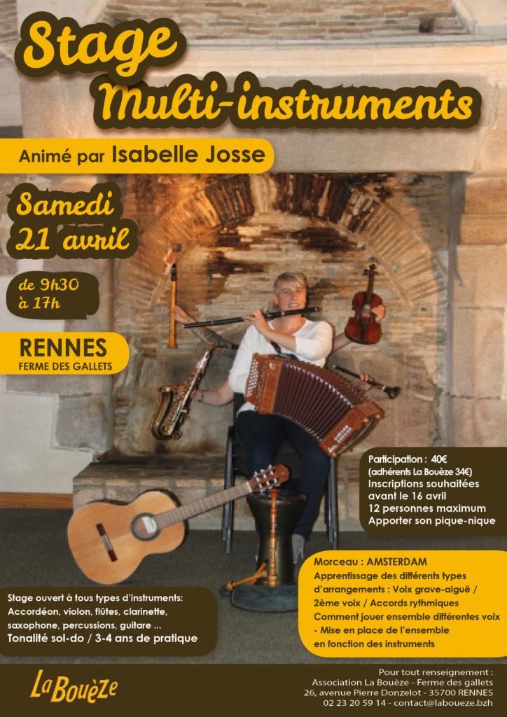 Samedi 21 Avril - Stage multi-instruments - Rennes