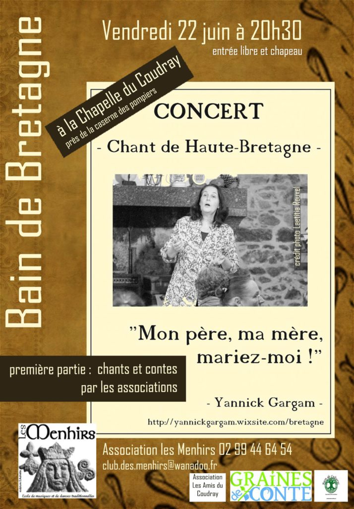 Vendredi 22 Juin : Concert de Yannick Gargam - Bain de Bretagne