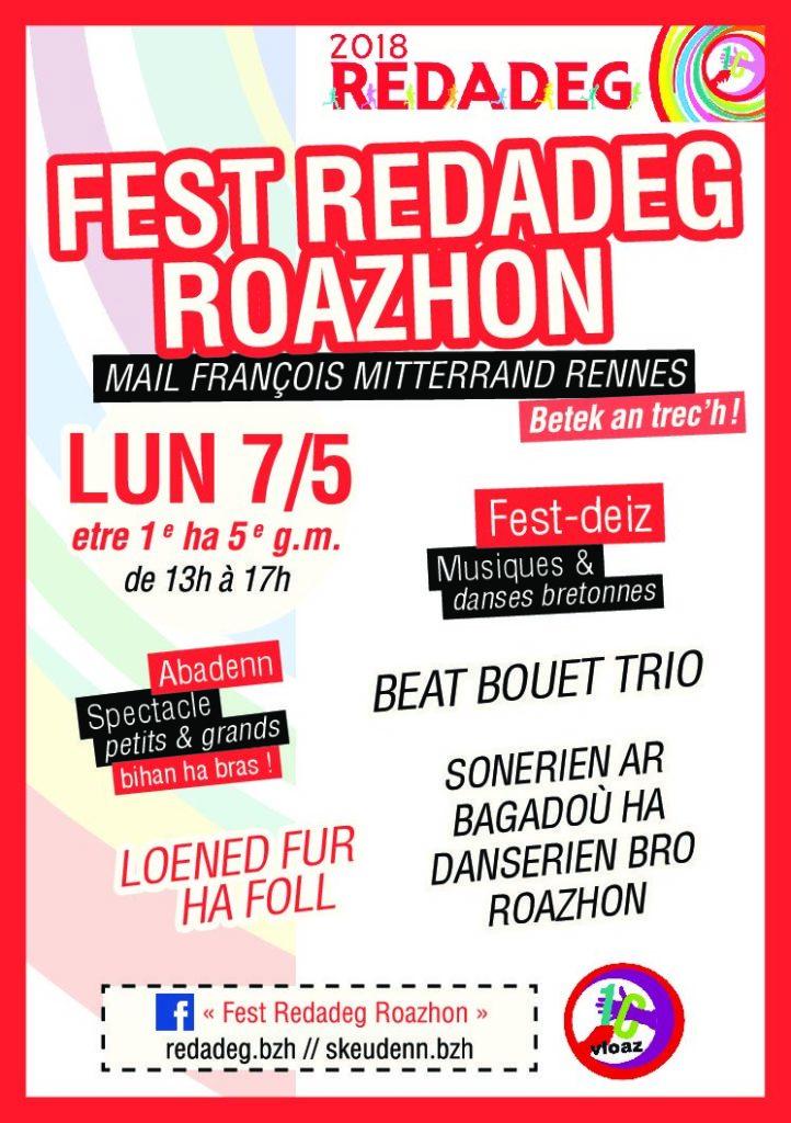 Lundi 7 Mai : Fest Redadeg Roazhon