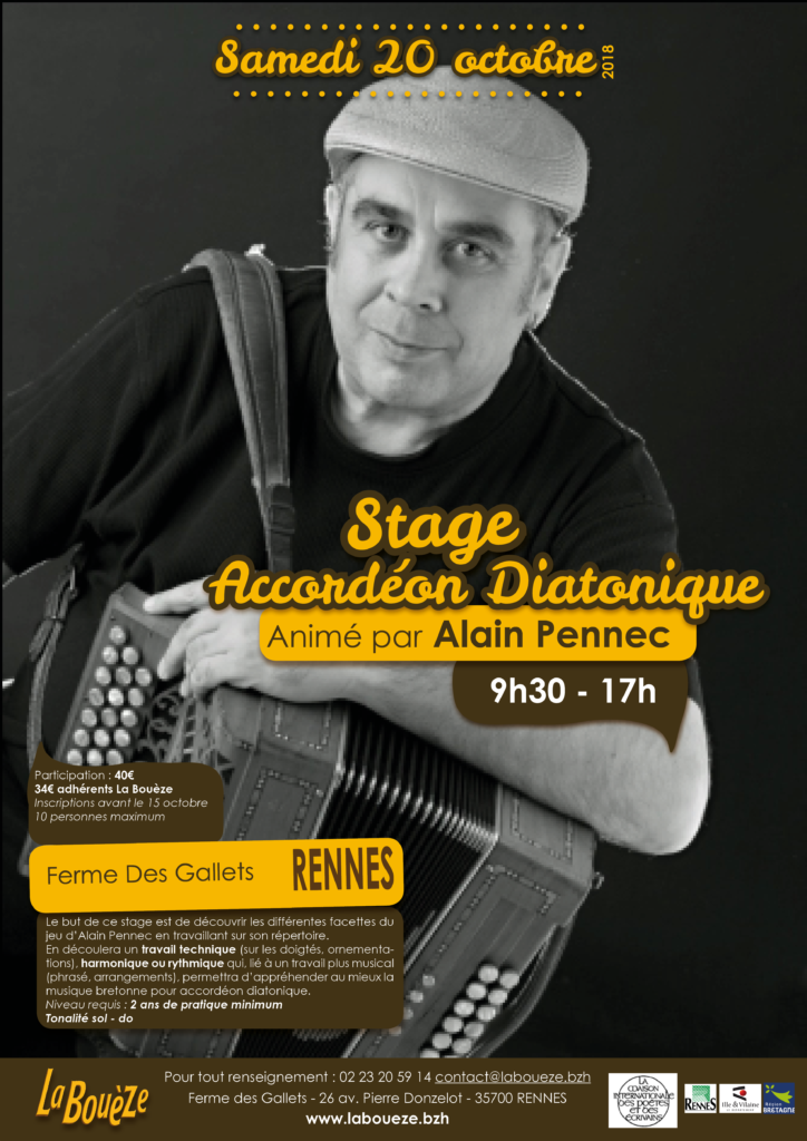Samedi 20 octobre : Stage d'accordéon diatonique - Rennes