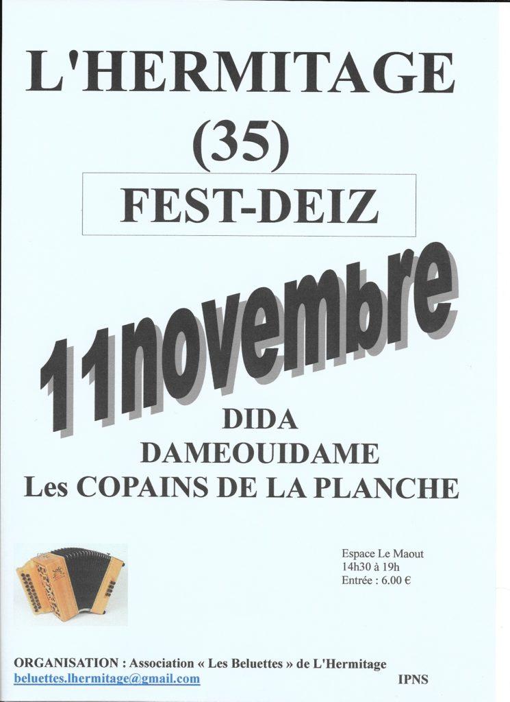 Dimanche 11 novembre : Fest-deiz - L'Hermitage