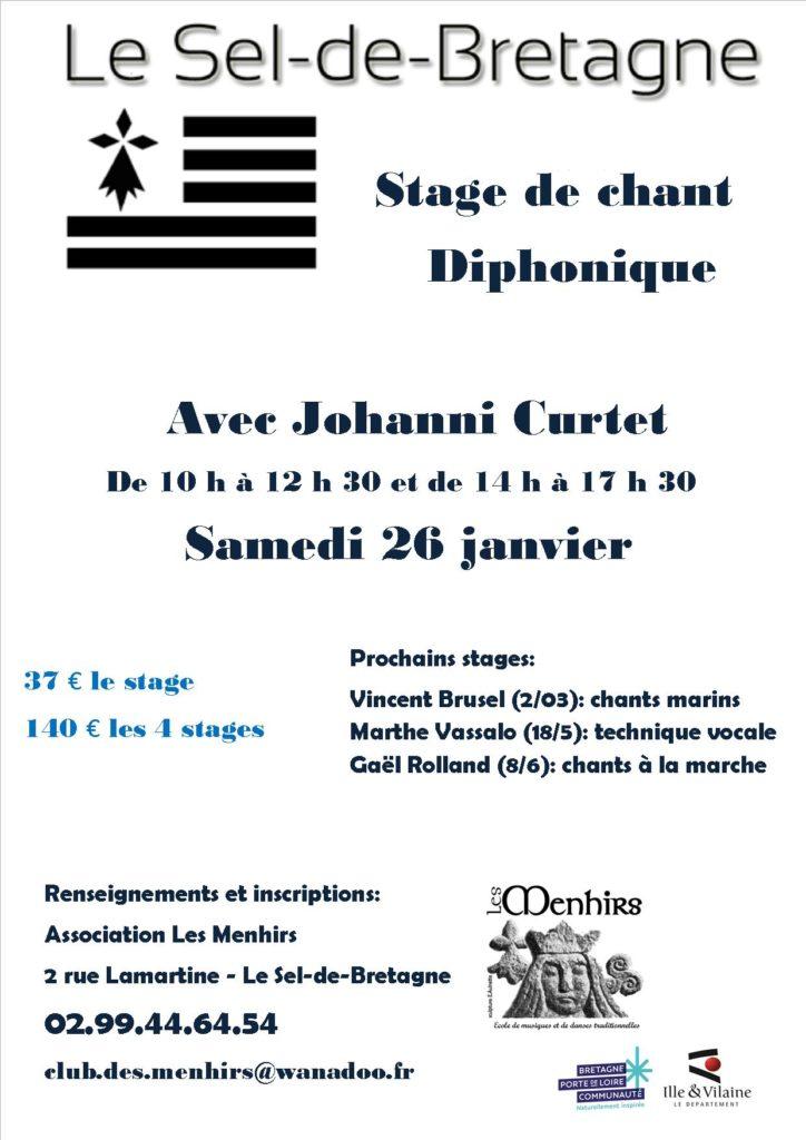 Samedi 26 janvier : Stage de Chant - Le-Sel-de-Bretagne