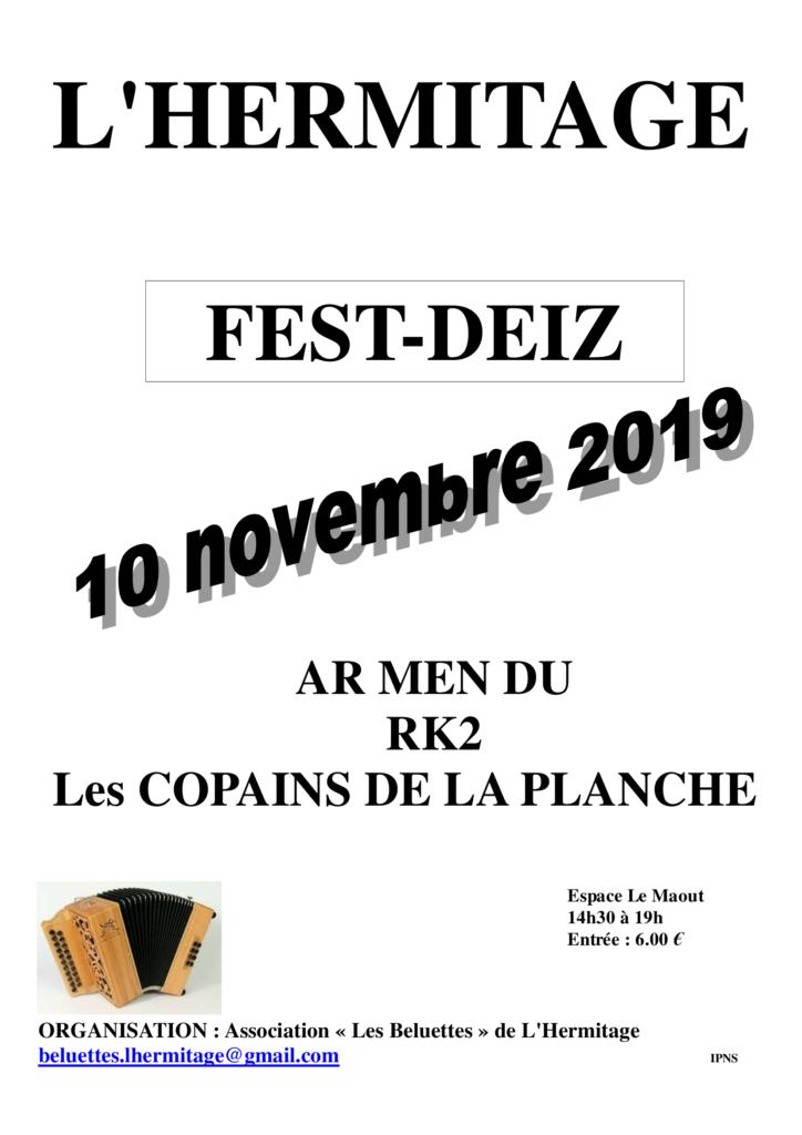 Dimanche 10 novembre - Fest-deiz L'Hermitage