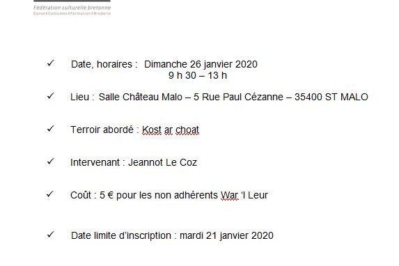 Dimanche 26 janvier - Stage de Kost ar C'hoad - St Malo